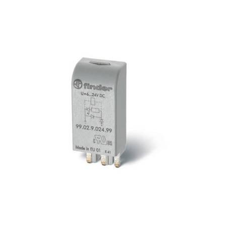 FINDER Moduł sygnalizacji LED i zabezpieczenia przeciwprzepięciowego EMC (warystor), LED zielony 6-24V AC/DC; 99.02.0.024.98
